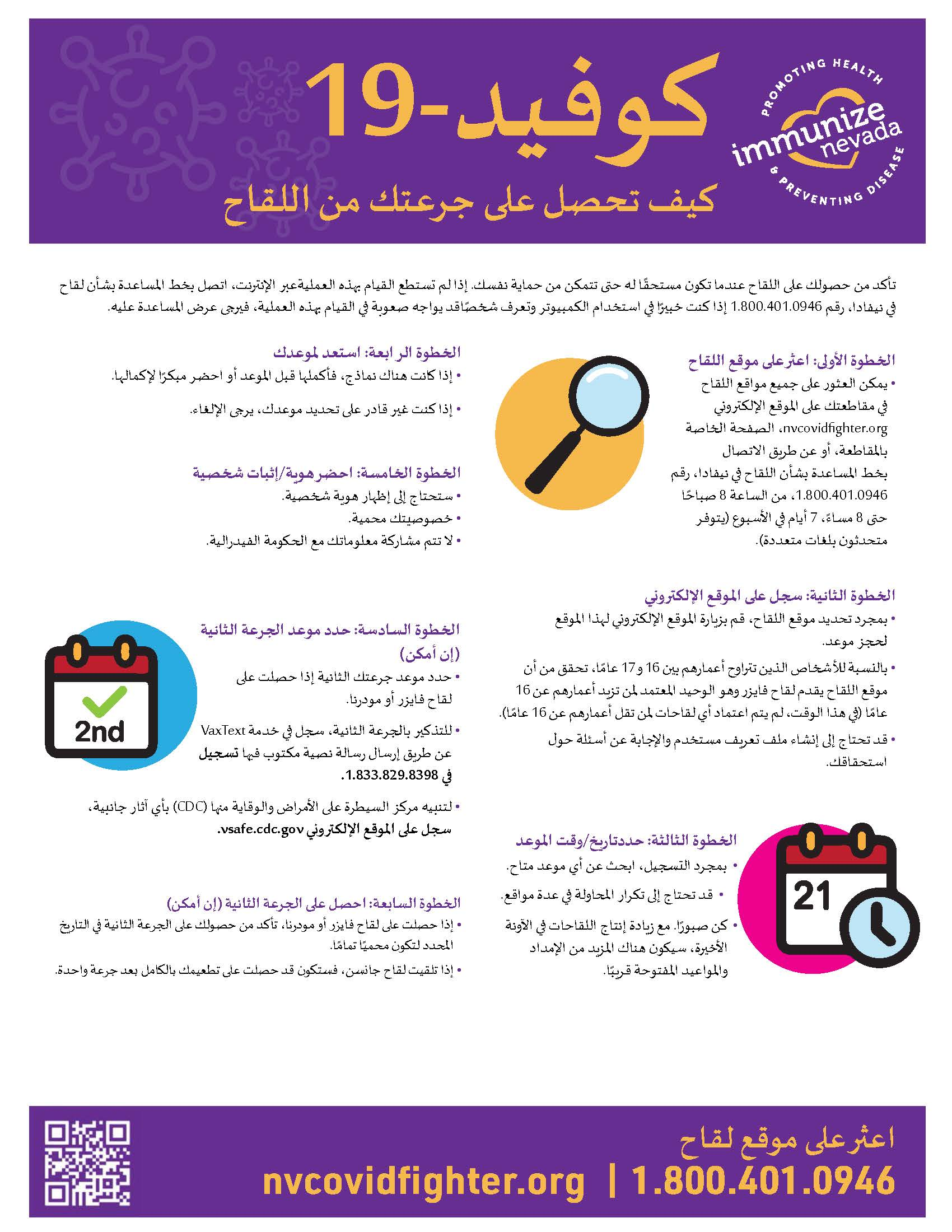 COVID-19 Vaccine Appointment Steps Flyer Arabic_v1
