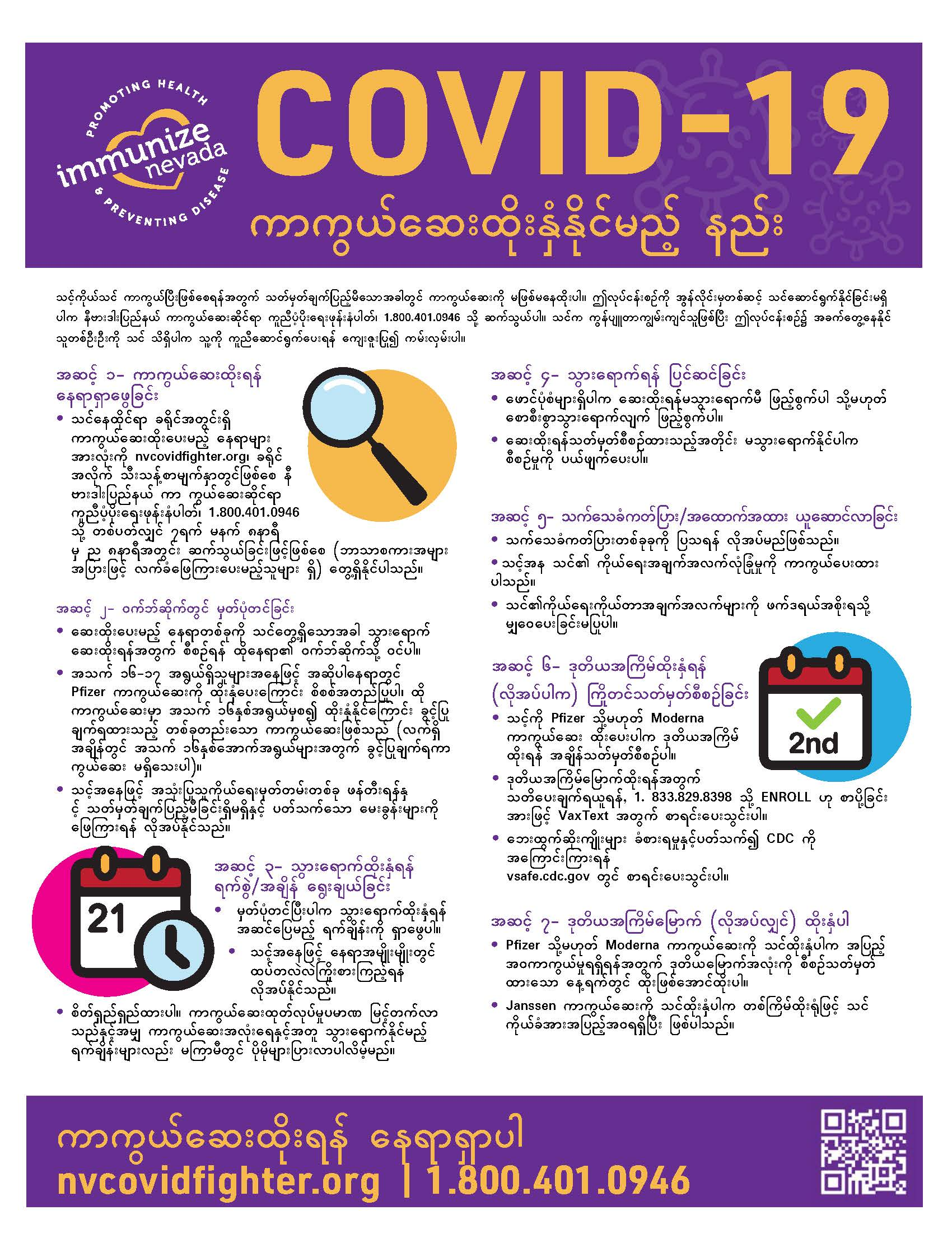 COVID-19 Vaccine Appointment Steps Flyer Burmese