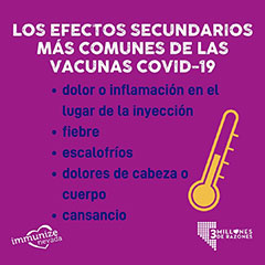 Instagram Sized Graphics about to Common Side Effects in Spanish
